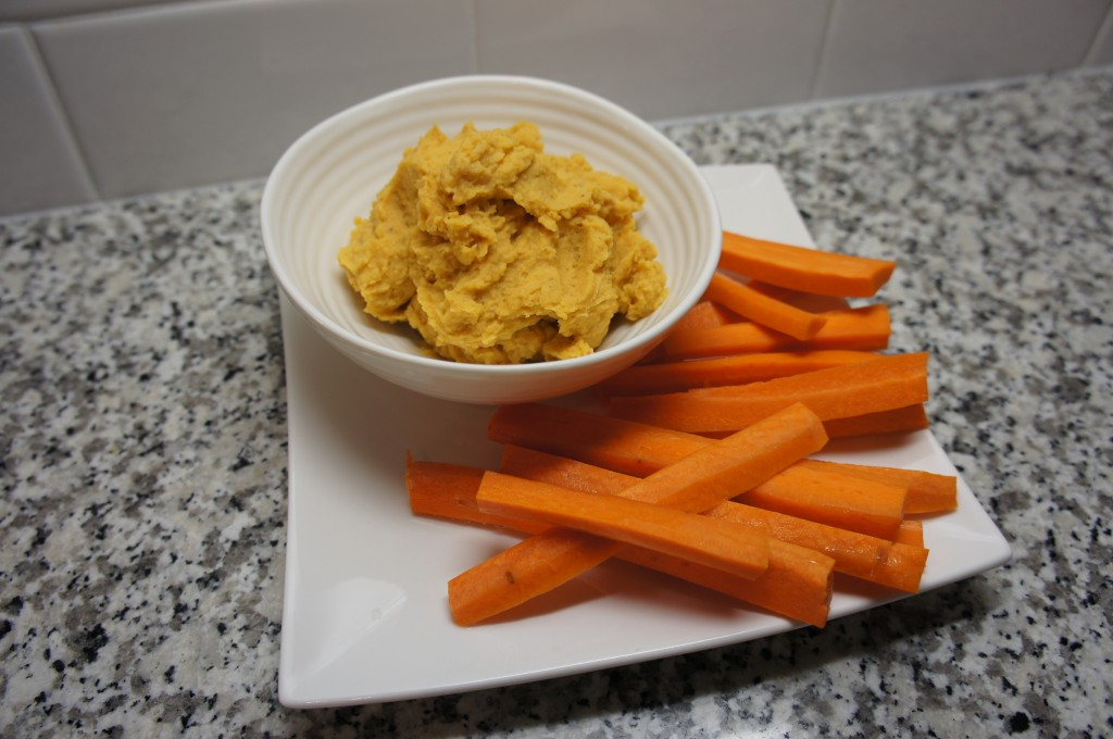 Sweet Potato Hummus with Carrots