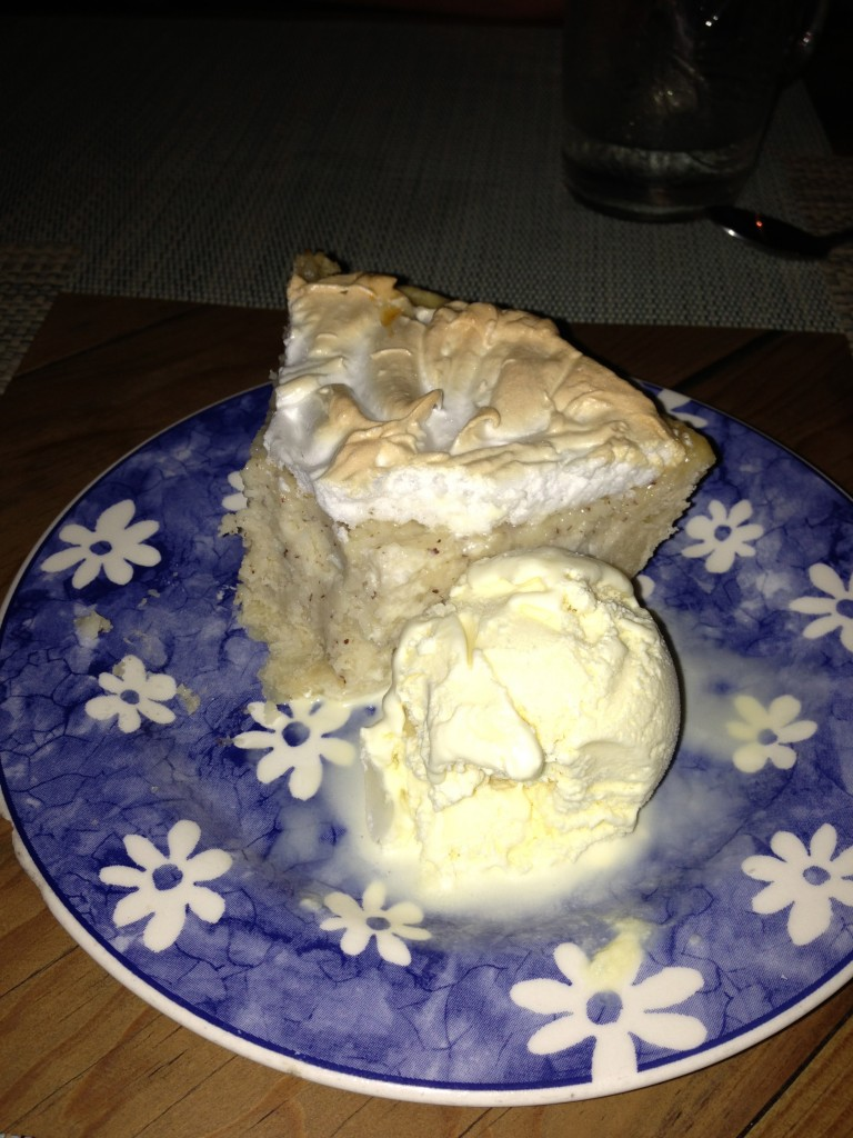 Coconut pie with ice cream: one of the best desserts I've ever had